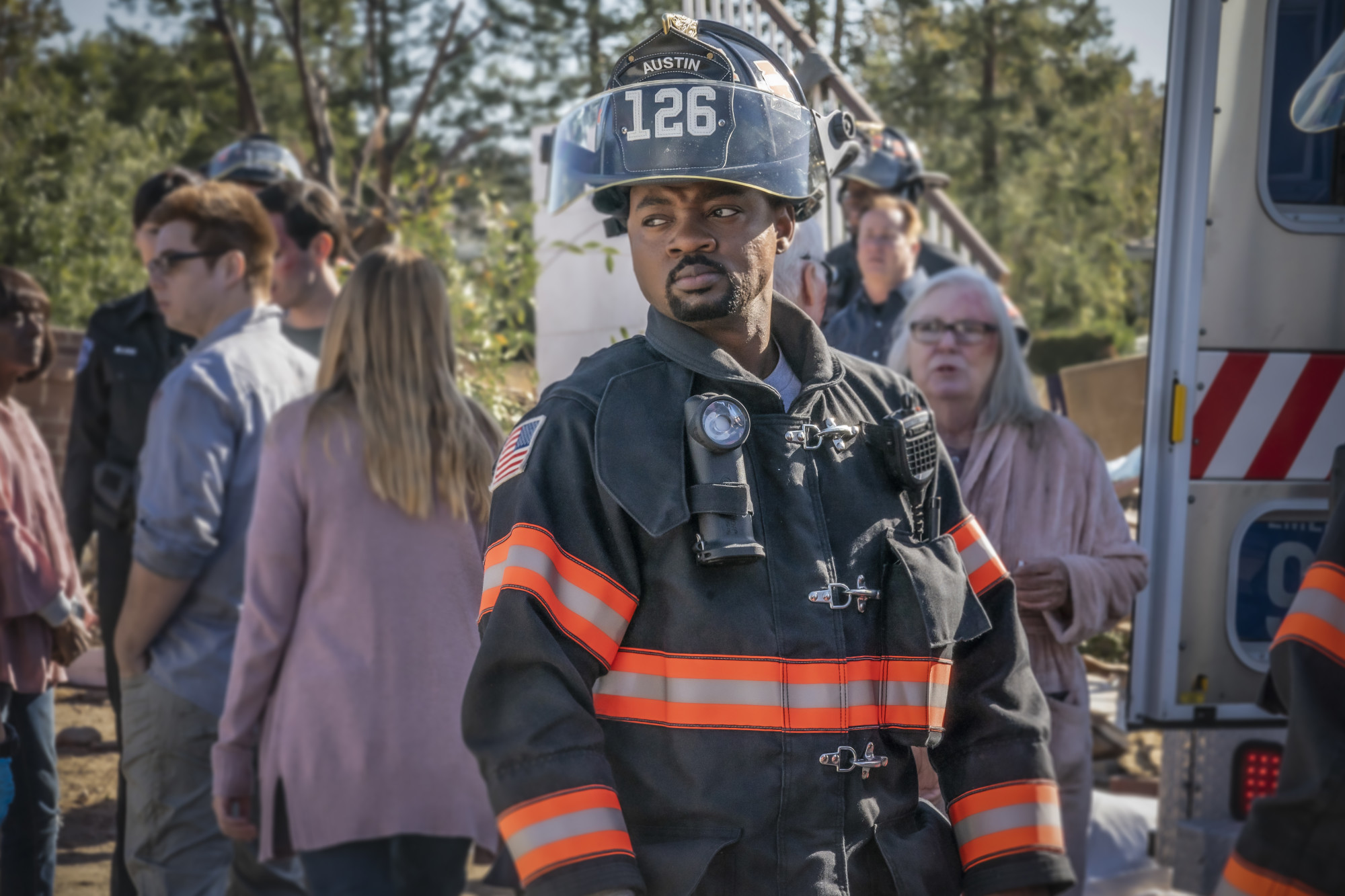 """9-1-1: LONE STAR: Brian Michael Smith in the """"Act of God"""" episode of 9-1-1: LONE STAR airing Monday, Feb. 3 (8:00-9:01 PM ET/PT) on FOX. ©2020 Fox Media LLC. CR: Jack Zeman/FOX."""