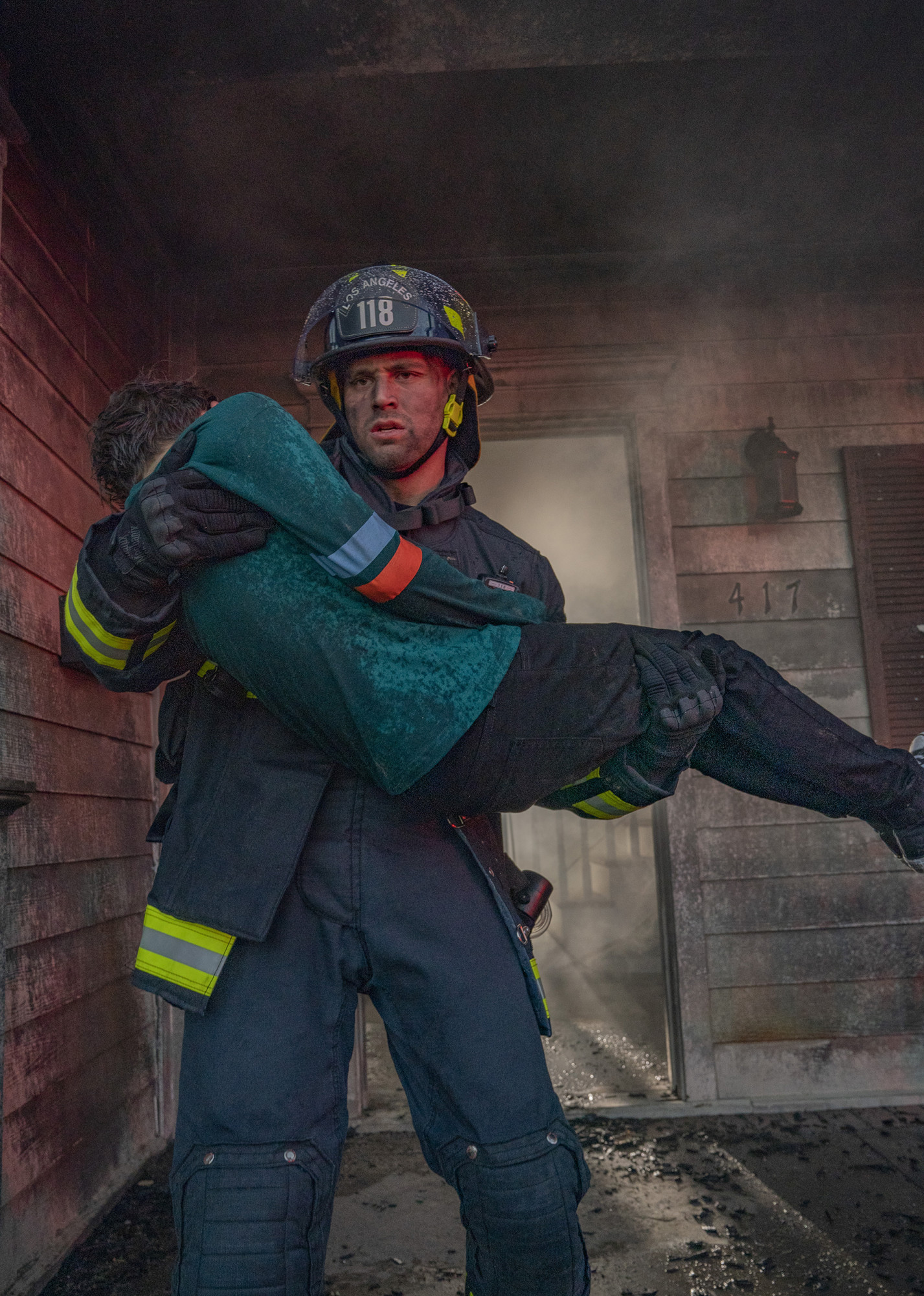 "9-1-1: L-R:  Guest star Nico David  and Ryan Guzman in the ""Broken"" episode of 9-1-1 airing Monday, April 15 (9:00-10:00 PM ET/PT) on FOX.  ©2019 FOX MEDIA LLC.  Cr: Jack Zeman/FOX."