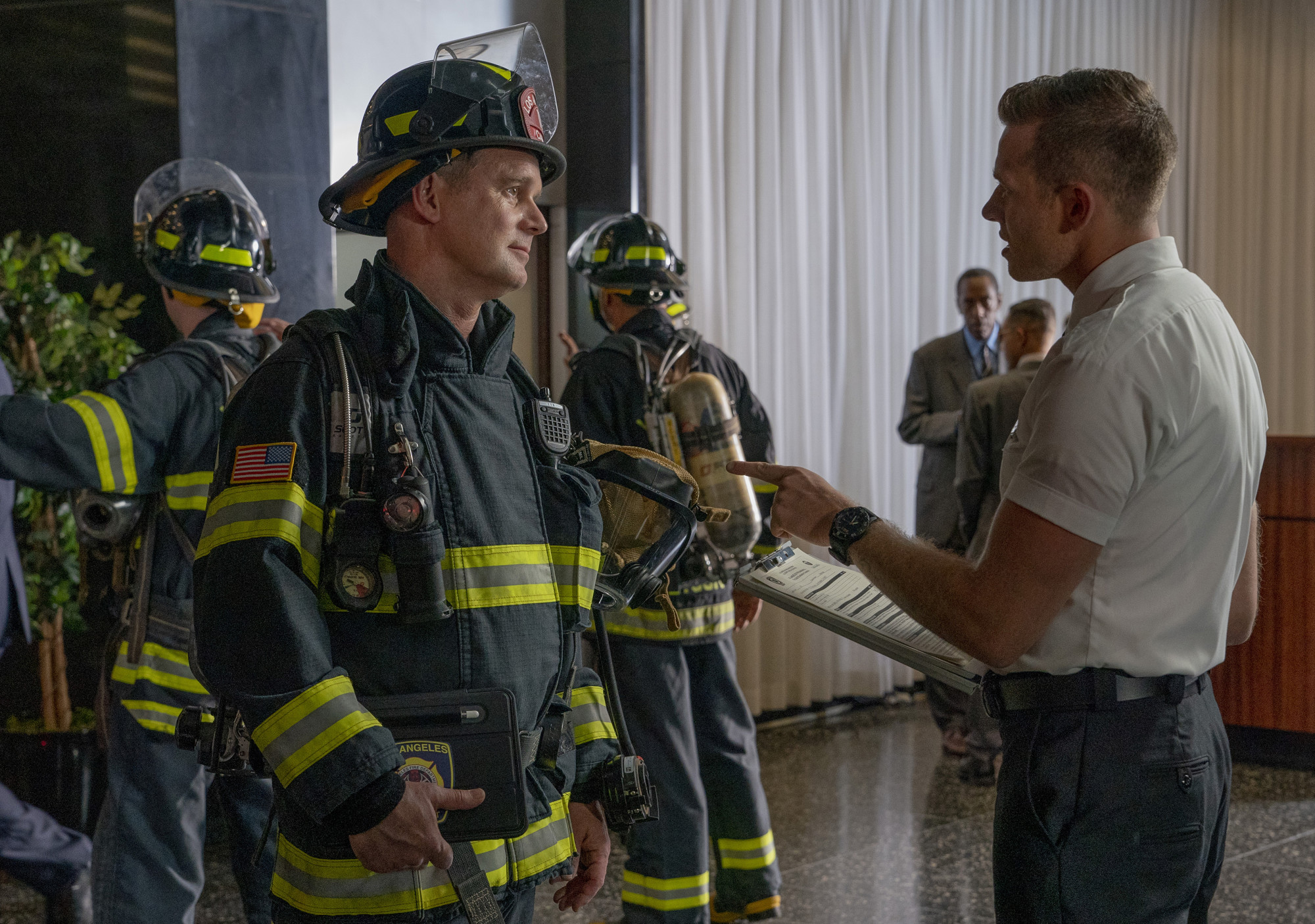 "9-1-1: L-R: Peter Krause and Oliver Stark in the ""Triggers"" episode of 9-1-1 airing Monday, Oct. 14 (8:00-9:01 PM ET/PT) on FOX.© 2019 FOX MEDIA LLC. CR: Jack Zeman/FOX."