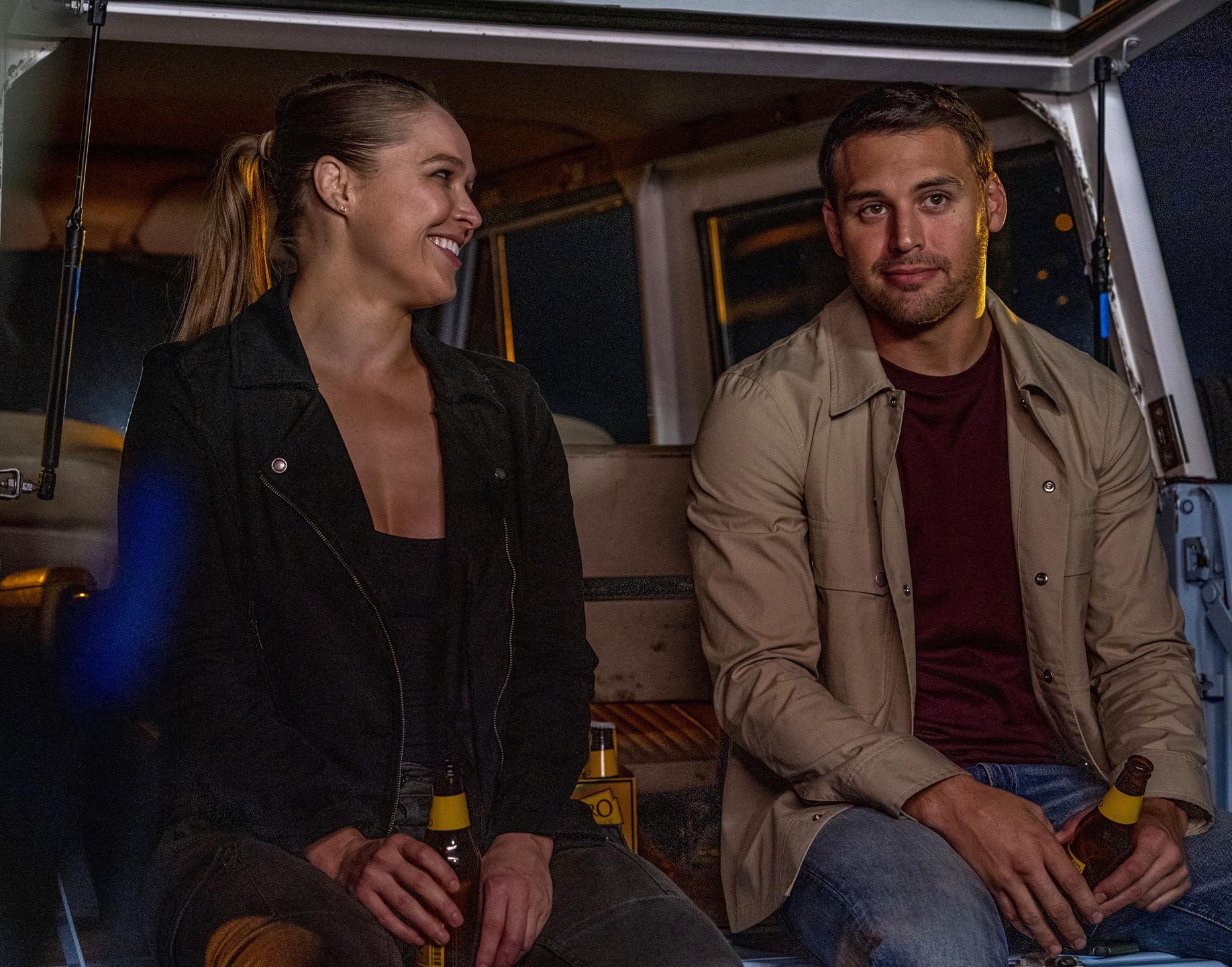 "9-1-1: L-R: Guest star Ronda Rousey and Ryan Guzman in the ""Rage"" episode of 9-1-1 airing Monday, Oct. 21 (8:00-9:01 PM ET/PT) on FOX. © 2019 FOX MEDIA LLC. CR: Jack Zeman/FOX."