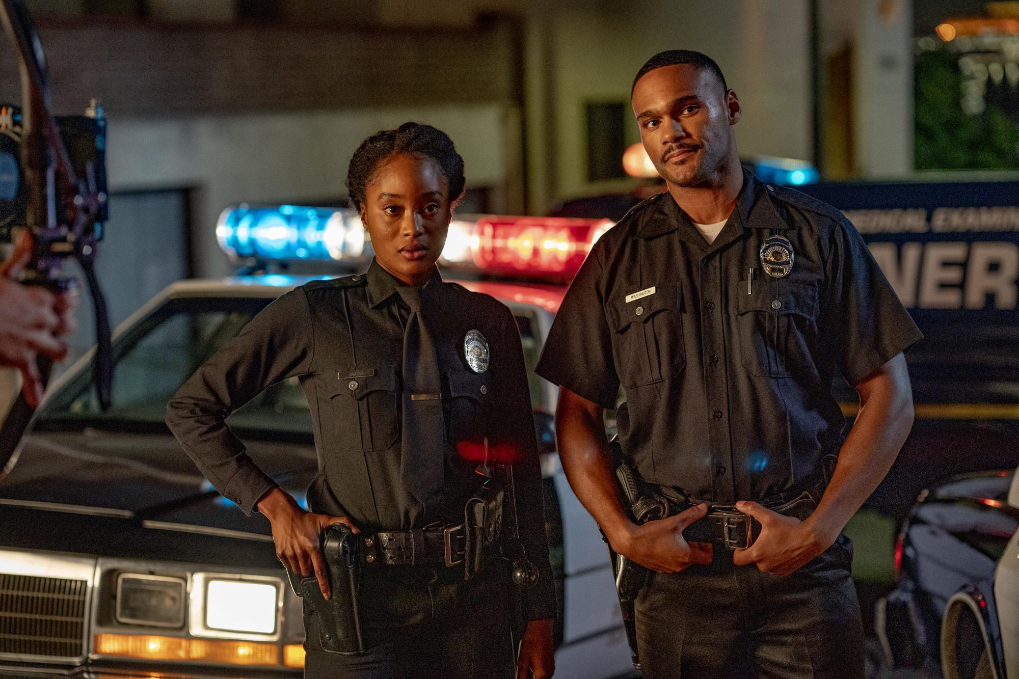 "9-1-1: L-R: Pepi Sonuga and Jeff Pierre in the ""Athena Begins"" episode of 9-1-1 airing Monday, Nov. 4 (8:00-9:01 PM ET/PT) on FOX. © 2019 FOX MEDIA LLC. CR: Jack Zeman / FOX."