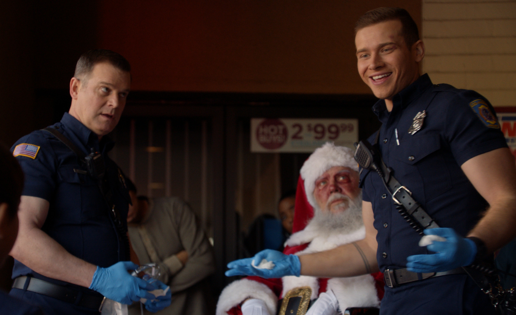 "9-1-1: L-R: Peter Krause and Oliver Stark in the ""Christmas Spirit"" fall finale episode of 9-1-1 airing Monday, Dec. 2 (8:00-9:01 PM ET/PT) on FOX. CR: FOX."