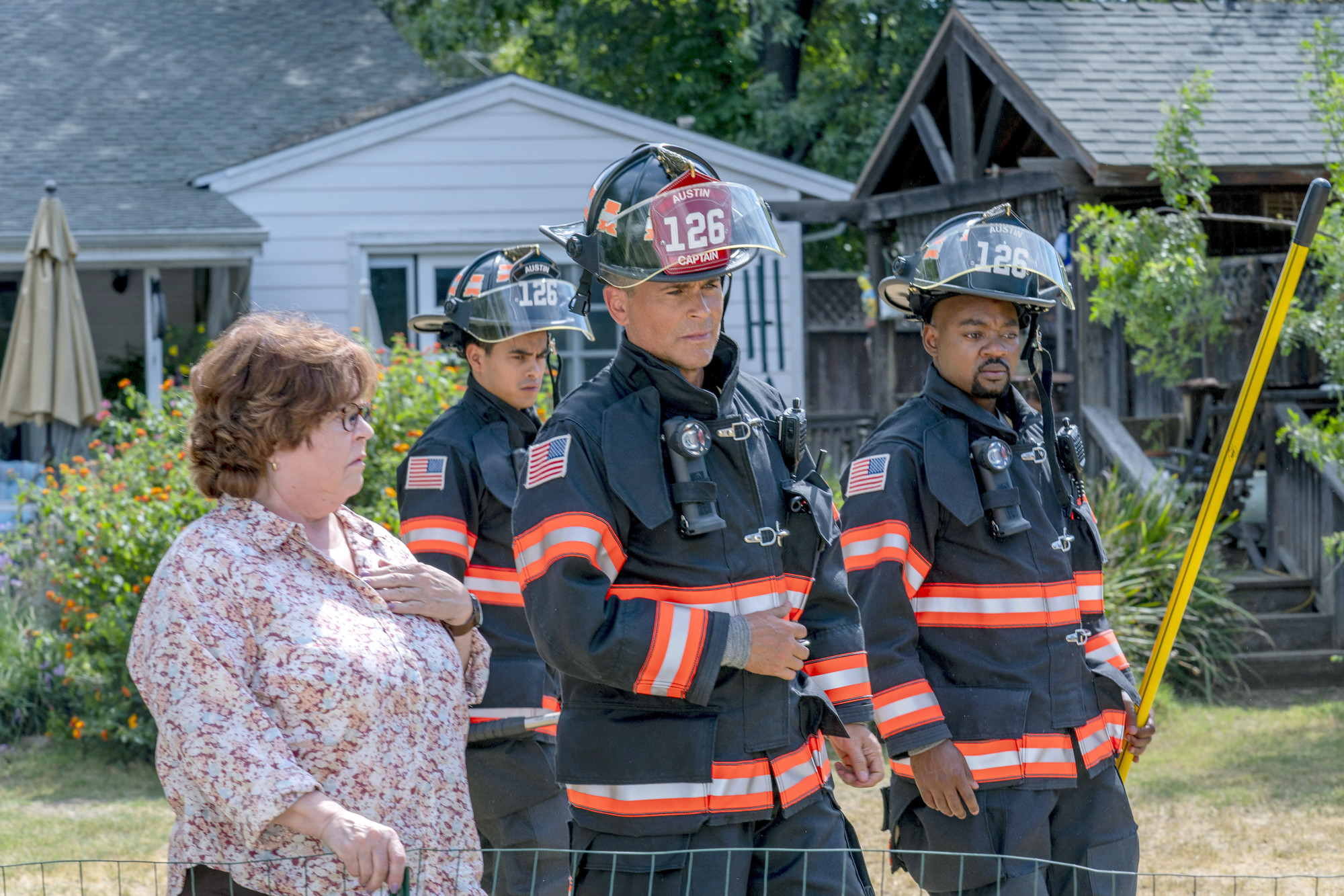 """9-1-1: LONE STAR: L-R: Guest star Patrika Darbo, Julian Works, Rob Lowe and Brian Michael Smith in the """"Yee-Haw"""" episode of 9-1-1: LONE STAR airing Monday, Jan. 20 (8:00-9:01 PM ET/PT) on FOX. ©2020 Fox Media LLC. CR: Jack Zeman/FOX."""