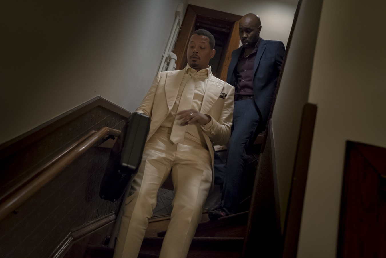 "EMPIRE: L-R: Terrence Howard and special guest star Wood Harris in the ""What Is Done"" episode of EMPIRE airing Wednesday, Oct. 31 (8:00-9:00 PM ET/PT) on FOX. @2018 Fox Broadcasting Co. CR: Chuck Hodes/FOX."