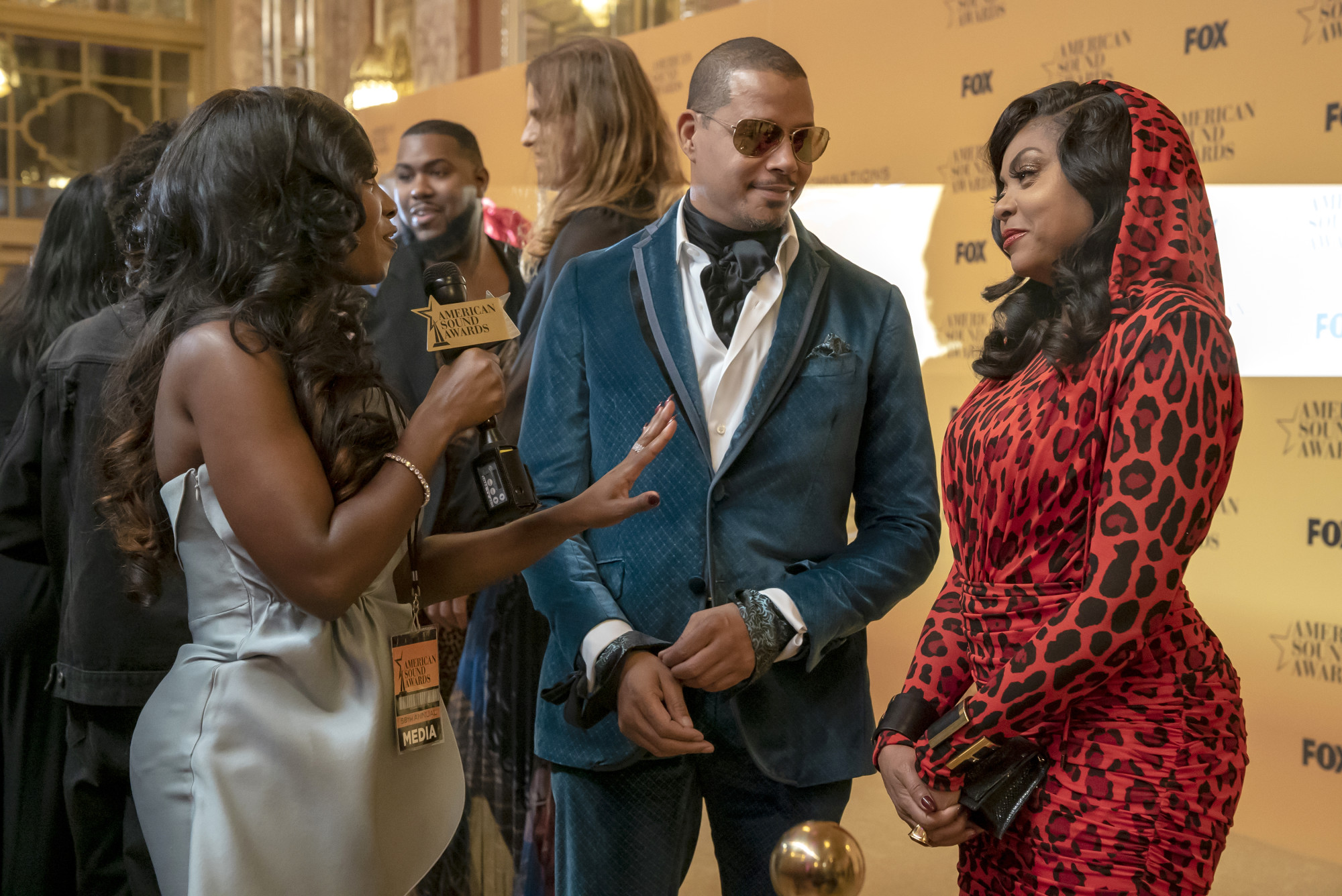 "EMPIRE: L-R: Terrence Howard, guest star Kendra G and Taraji P. Henson in the ""Cold Cold Man"" fall finale episode of EMPIRE airing Tuesday, Dec. 17 (9:00-10:00 PM ET/PT) on FOX. ©2019 Fox Media LLC. CR: Chuck Hodes/FOX."
