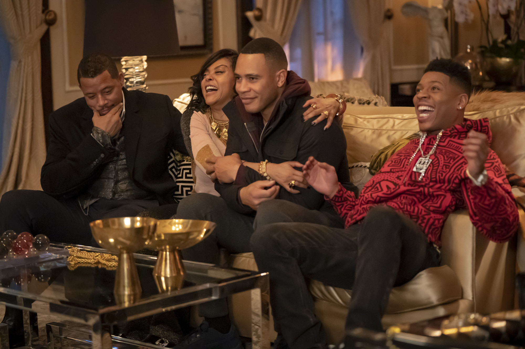 """EMPIRE: L-R: Terrence Howard, Taraji P. Henson, Trai Byers and Bryshere Y. Gray in the """"We Got Us"""" series' 100th episode of EMPIRE airing Tuesday, April 7 (9:00-10:00 PM ET/PT) on FOX. ©2020 Fox Media LLC. CR: Chuck Hodes/FOX."""