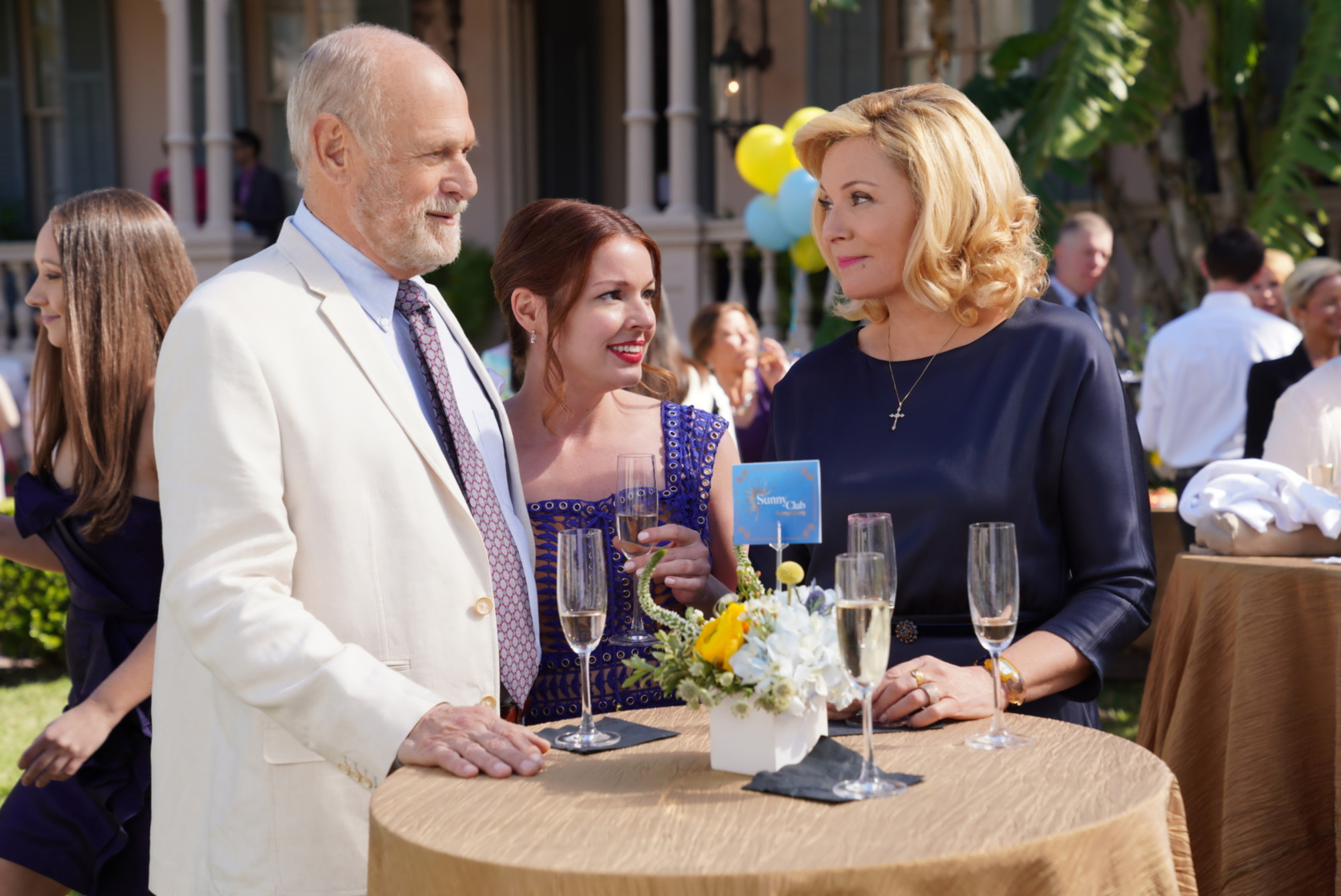 "FILTHY RICH: L-R: Gerald McRaney, Aubrey Dollar and Kim Cattrall in the ""Pilot"" series premiere episode of FILTHY RICH airing Monday, Sept. 21 (9:00-10:00 PM ET/PT)  on FOX. © 2020 FOX MEDIA LLC. Cr: Alan Markfield / FOX."