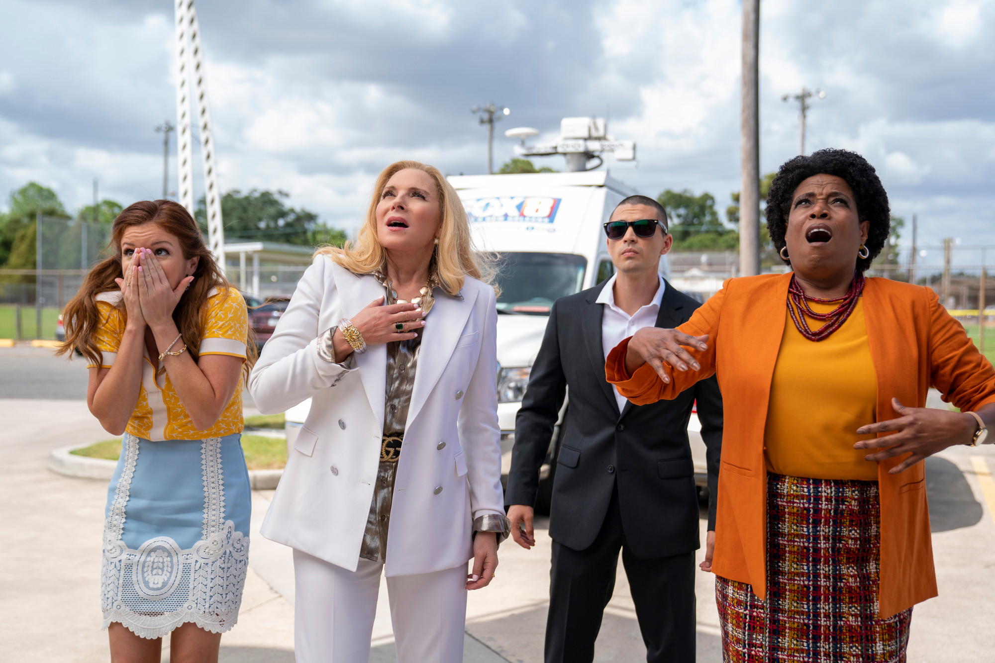 "FILTHY RICH: L-R: Aubrey Dollar, Kim Cattrall Benjamin Levy Aguilar and guest star Deneen Tyler in the ""John 3:3"" episode of FILTHY RICH airing Monday, Sept. 28 (9:00-10:00 PM ET/PT) on FOX. ©2020 Fox Media LLC. CR: Skip Bolen/FOX."