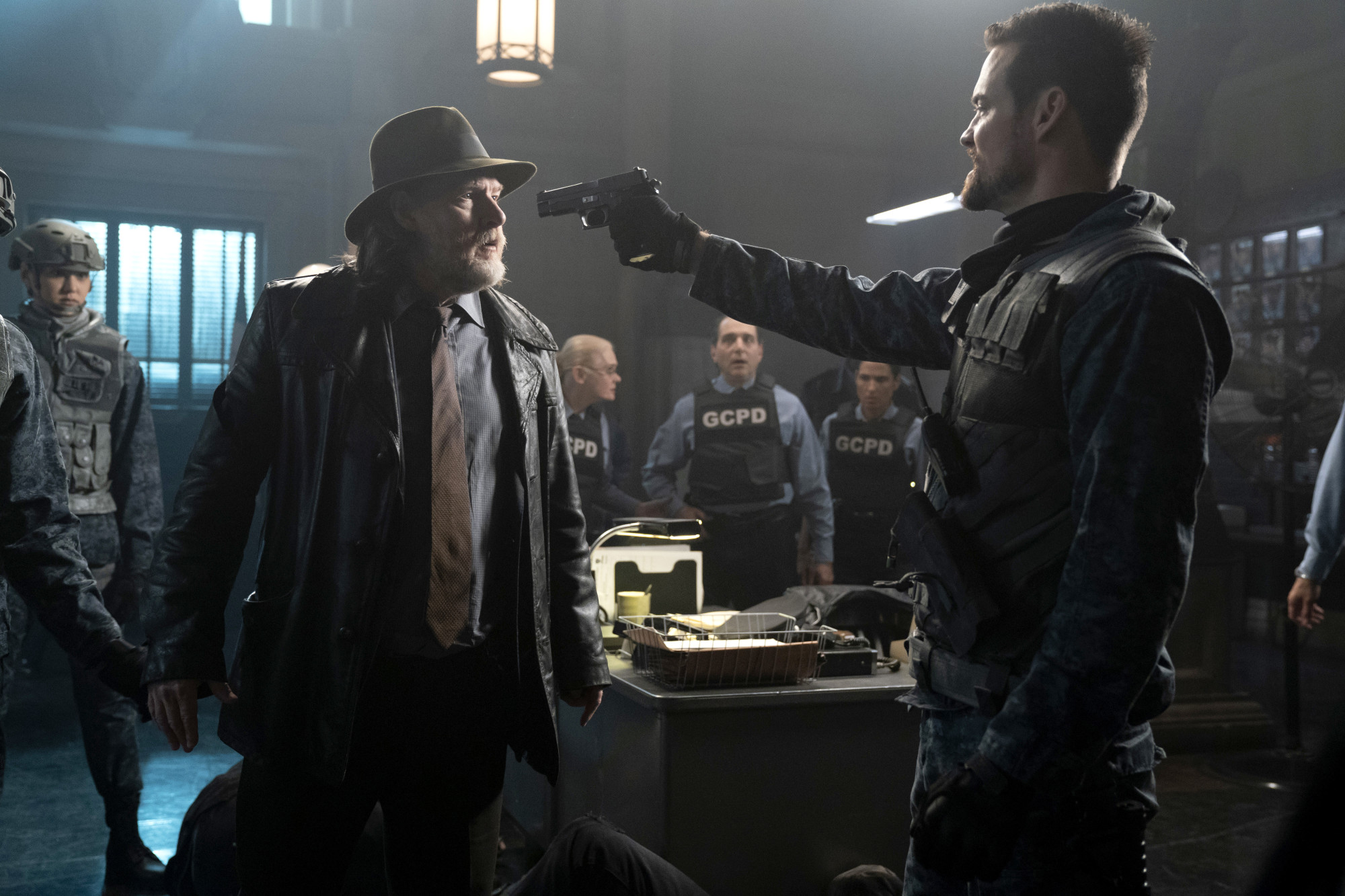 """GOTHAM: L-R: Donal Logue and Shane West in the """"13 Stitches"""" episode of GOTHAM airing Thursday, Feb. 14 (8:00-9:00 PM ET/PT) on FOX. ©2019 Fox Broadcasting Co. Cr: FOX"""