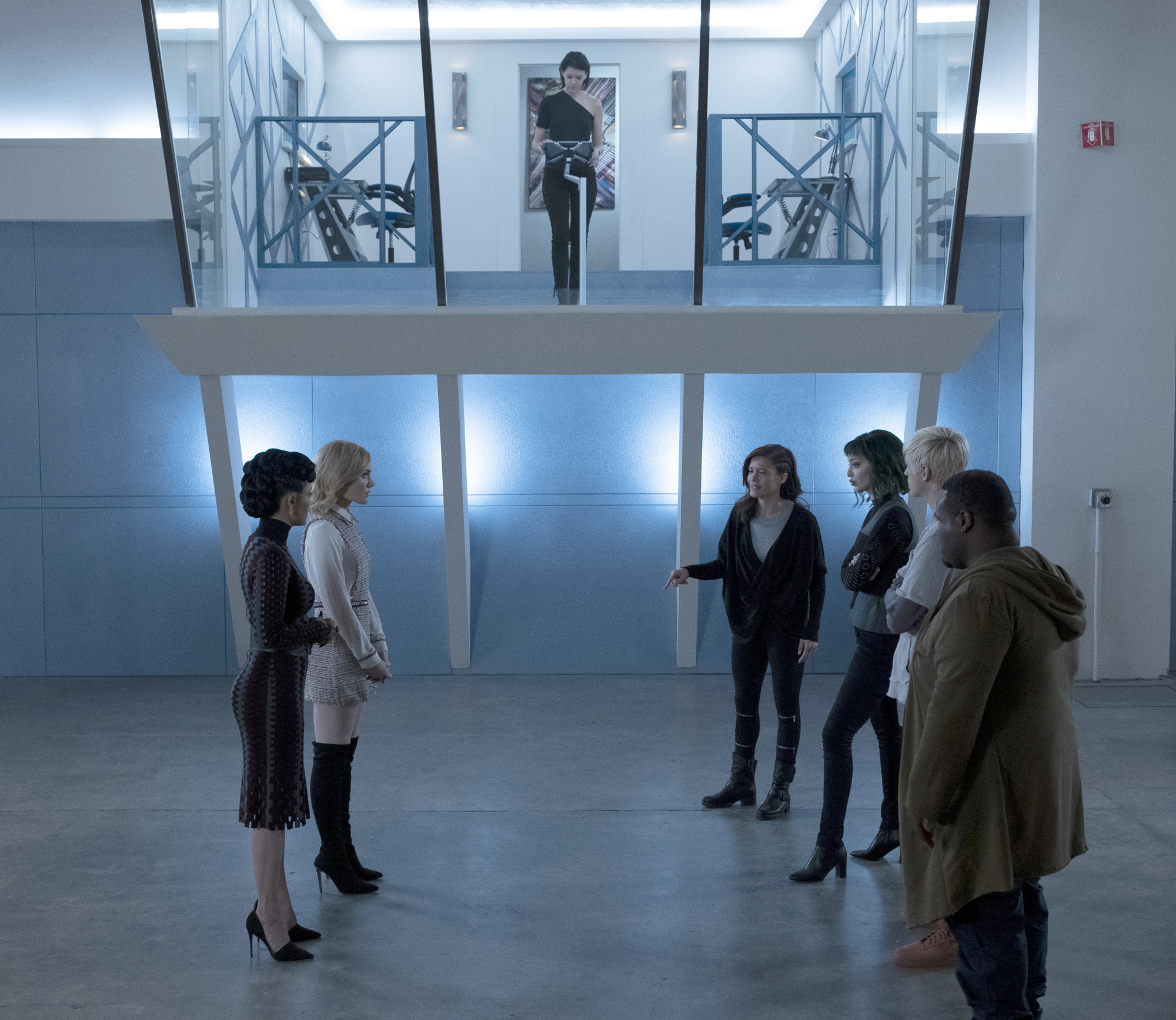 """THE GIFTED:  L-R:  Grace Byers, Skyler Samuels, guest star Hayley Lovitt, guest star Michelle Ramos, Emma Dumont, Percy Hynes White and guest star Tyshon Freeman in the """"calaMity"""" episode of THE GIFTED airing Tuesday, Feb. 5 (9:00-10:00 PM ET/PT) on FOX. ©2018 Fox Broadcasting Co. Cr:  Steve Dietl/FOX."""