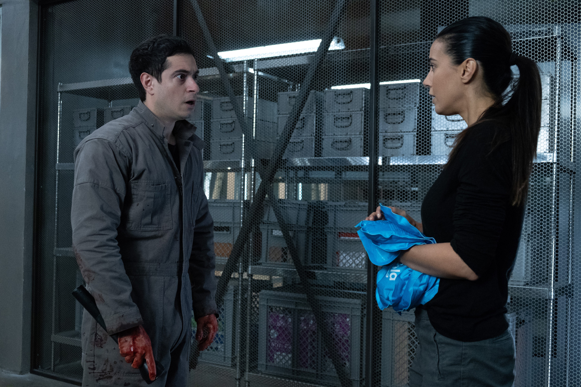 """THE PASSAGE: L-R: Guest star Jason Fuchs and Emmanuelle Chriqui in the  """"You Are Not That Girl Anymore"""" episode of THE PASSAGE airing Monday, March 4 (9:00-10:00 PM ET/PT) on FOX. © 2019 FOX Broadcasting. CR: Erika Doss / FOX."""