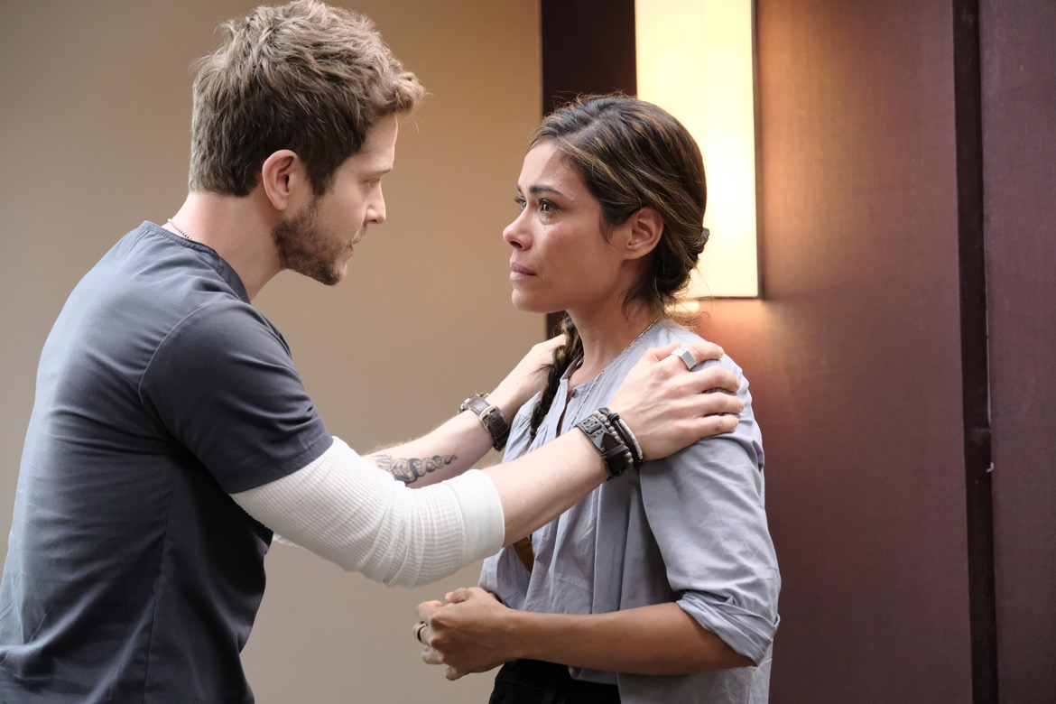 "THE RESIDENT:  L-R:  Matt Czuchry and guest star Daniella Alonso in the ""The Germ"" episode of THE RESIDENT airing Monday, Oct. 22 (8:00-9:00 PM ET/PT) on FOX. ©2018 Fox Broadcasting Co. Cr: Guy D'AlemaFOX."