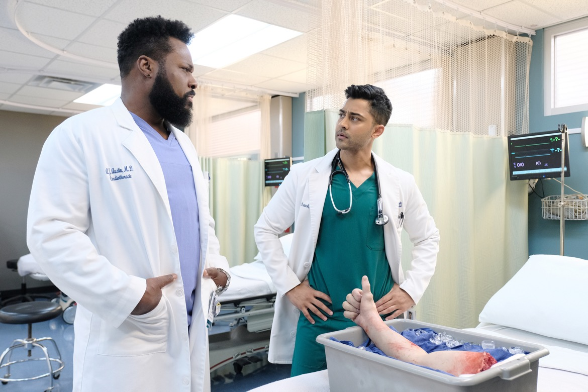 "THE RESIDENT:  L-R:  Malcolm-Jamal Warner and Manish Dayal in the ""Nightmares"" episode of THE RESIDENT airing Monday, Oct. 29 (8:00-9:00 PM ET/PT) on FOX. ©2018 Fox Broadcasting Co. Cr: Guy D'AlemaFOX."