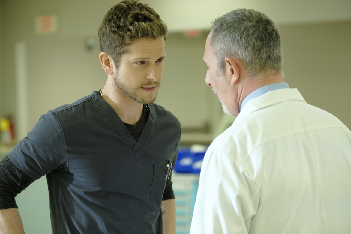 "THE RESIDENT:  L-R:  Matt Czuchry and guest star Andy Milder in the ""Trial & Error"" episode of THE RESIDENT airing Monday, Nov. 5 (8:00-9:00 PM ET/PT) on FOX. ©2018 Fox Broadcasting Co. Cr: Guy D'AlemaFOX."