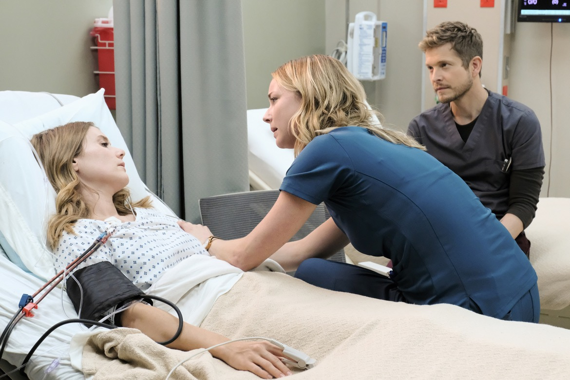 """THE RESIDENT:  L-R: Guest star Julianna Guill, Emily VanCamp and Matt Czuchry in the """"Trial & Error"""" episode of THE RESIDENT airing Monday, Nov. 5 (8:00-9:00 PM ET/PT) on FOX. ©2018 Fox Broadcasting Co. Cr: Guy D'AlemaFOX."""