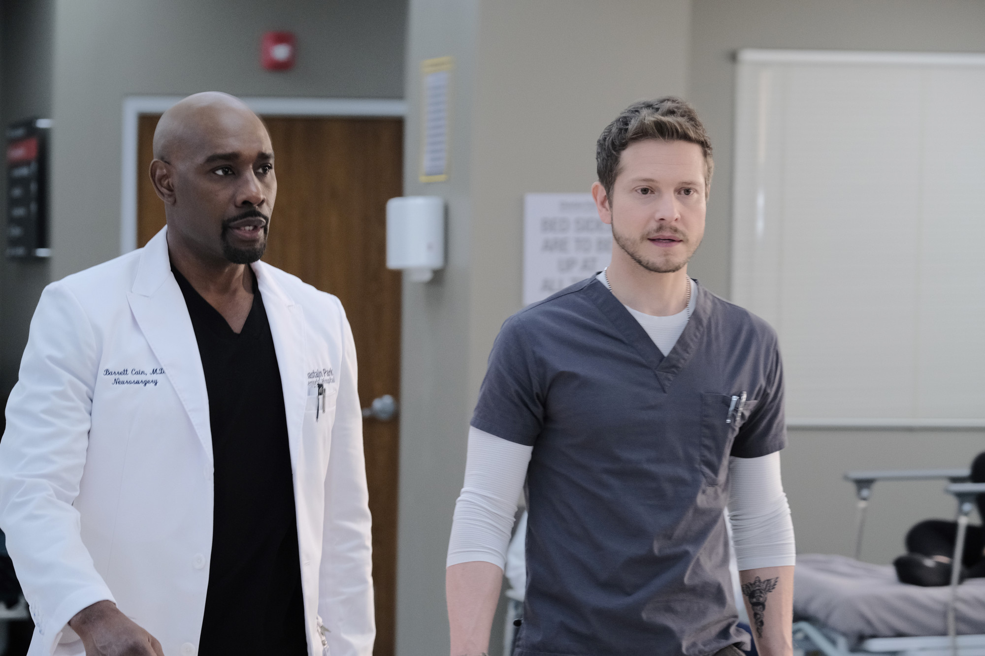 "THE RESIDENT:  L-R:  Morris Chestnut and Matt Czuchry in the ""Out for Blood"" episode of THE RESIDENT airing Tuesday, Dec. 3 (8:00-9:00 PM ET/PT) on FOX. ©2019 Fox Media LLC Cr: Guy D'Alema/FOX"