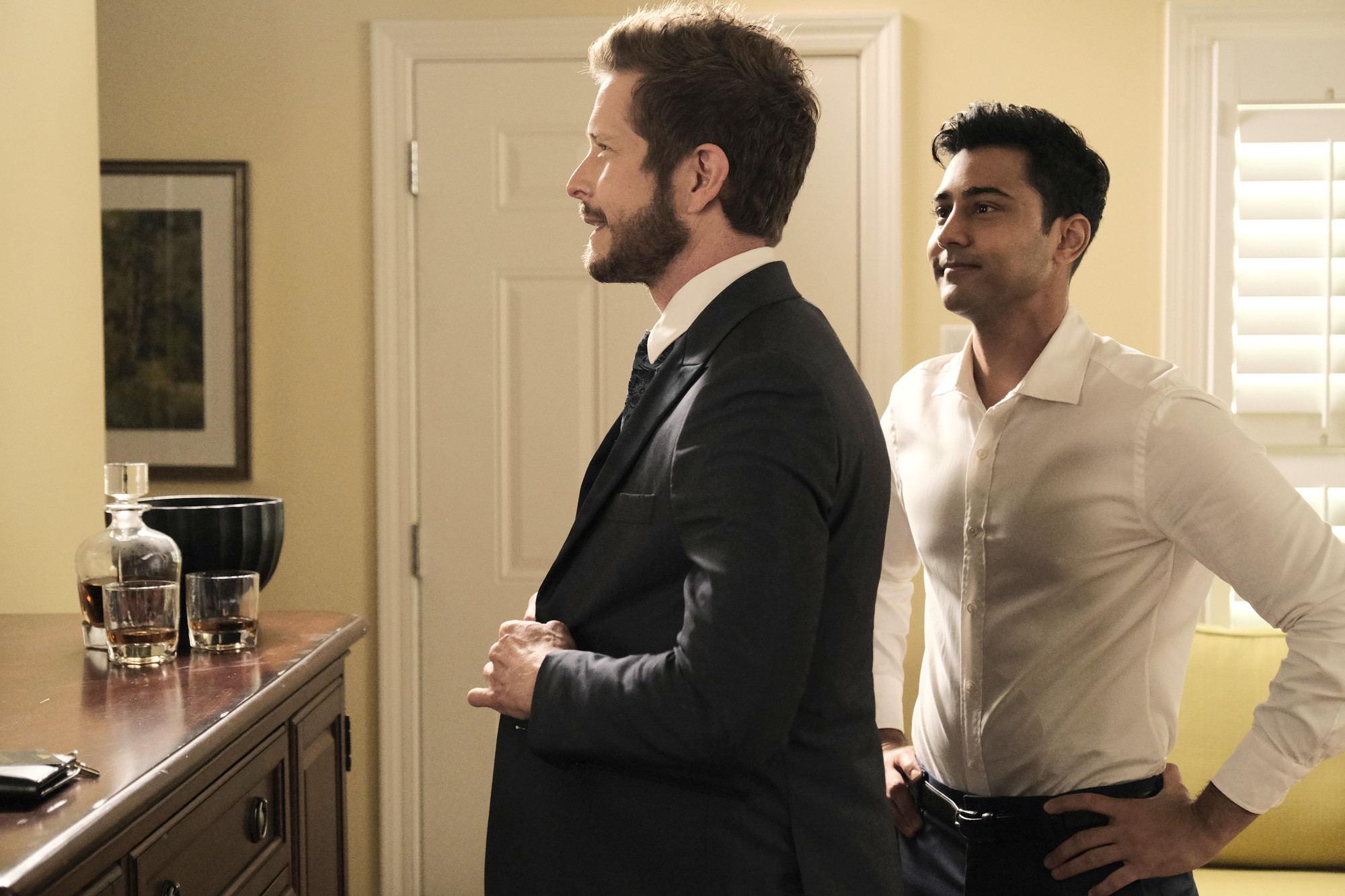 """THE RESIDENT: L-R: Matt Czuchry and Manish Dayal in the """"A Wedding a Funeral"""" season four premiere of THE RESIDENT airing Tuesday, Jan. 12 (8:00-9:00 PM ET/PT) on FOX.  ©2020 Fox Media LLC Cr: Guy D'Alema/FOX"""