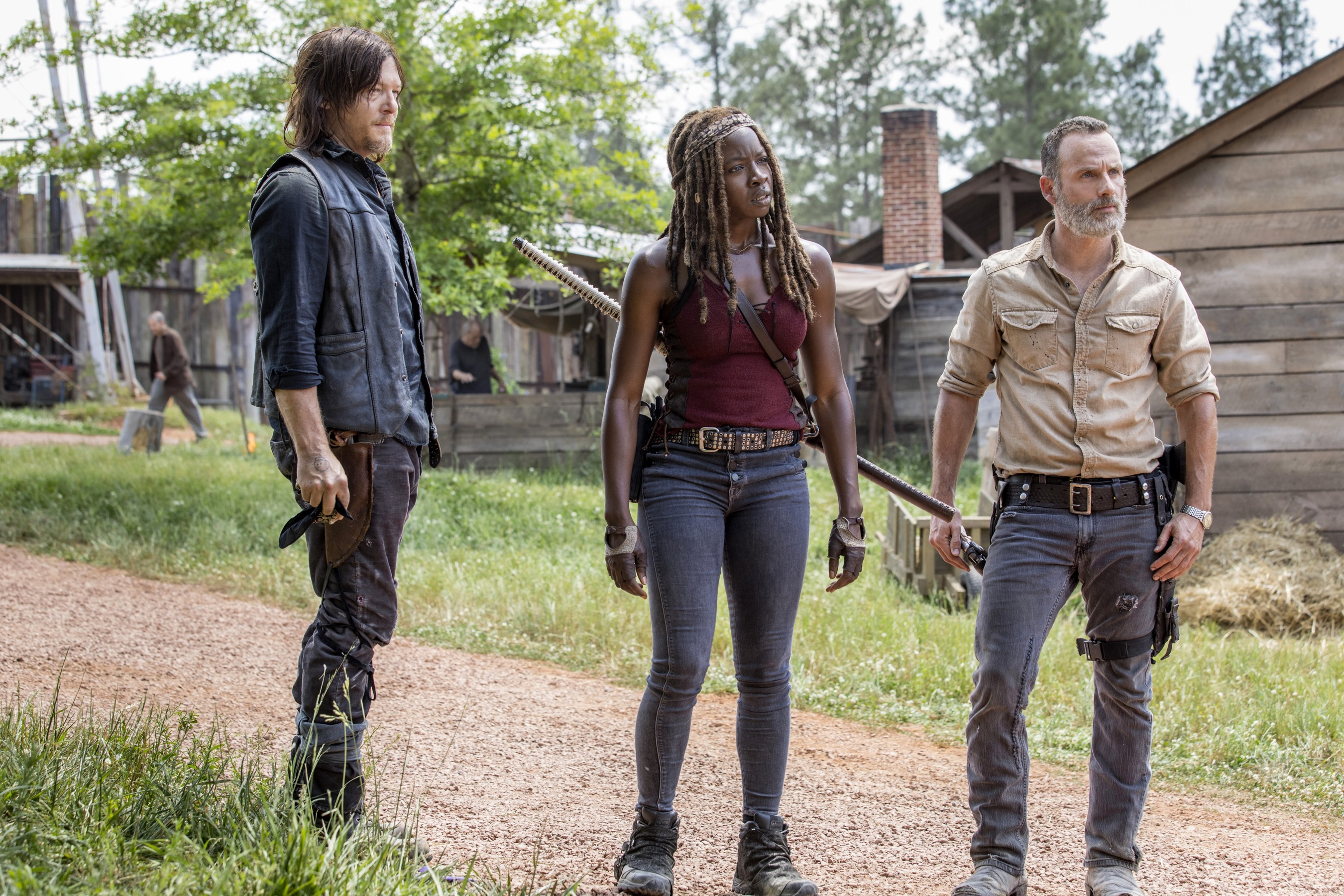 Norman Reedus as Daryl Dixon, Andrew Lincoln as Rick Grimes, Danai Gurira as Michonne - The Walking Dead _ Season 9, Episode 1 - Photo Credit: Jackson Lee Davis/AMC
