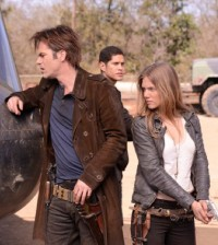 (l-r) Billy Burke as Miles Matheson, JD Pardo as Nate, Tracy Spiridakos as Charlie Matheson -- (Photo by: Brownie Harris/NBC)