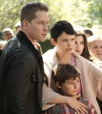 (l-r) Josh Dallas, Jared Gilmore and Ginnifer Goodwin in Once Upon a Time. Image © ABC